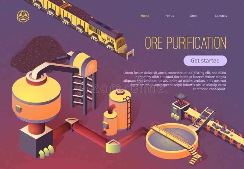 Ore Purification bei Metallurgy Gießerei Banner stock abbildung