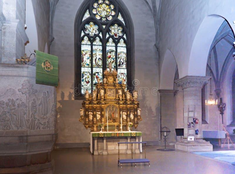 Orebro Schweden 24.09.2019 Central ST Nikolai Church Altar lizenzfreies stockbild