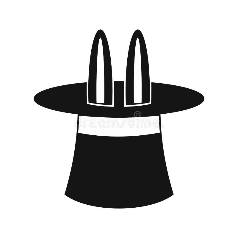 Orecchie di coniglio che compaiono da un'icona magica superiore del cappello illustrazione di stock