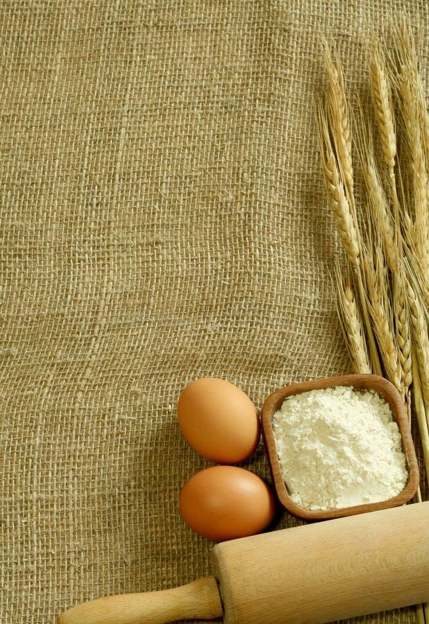 Orecchie, farina ed uova del frumento sul licenziamento. fotografia stock