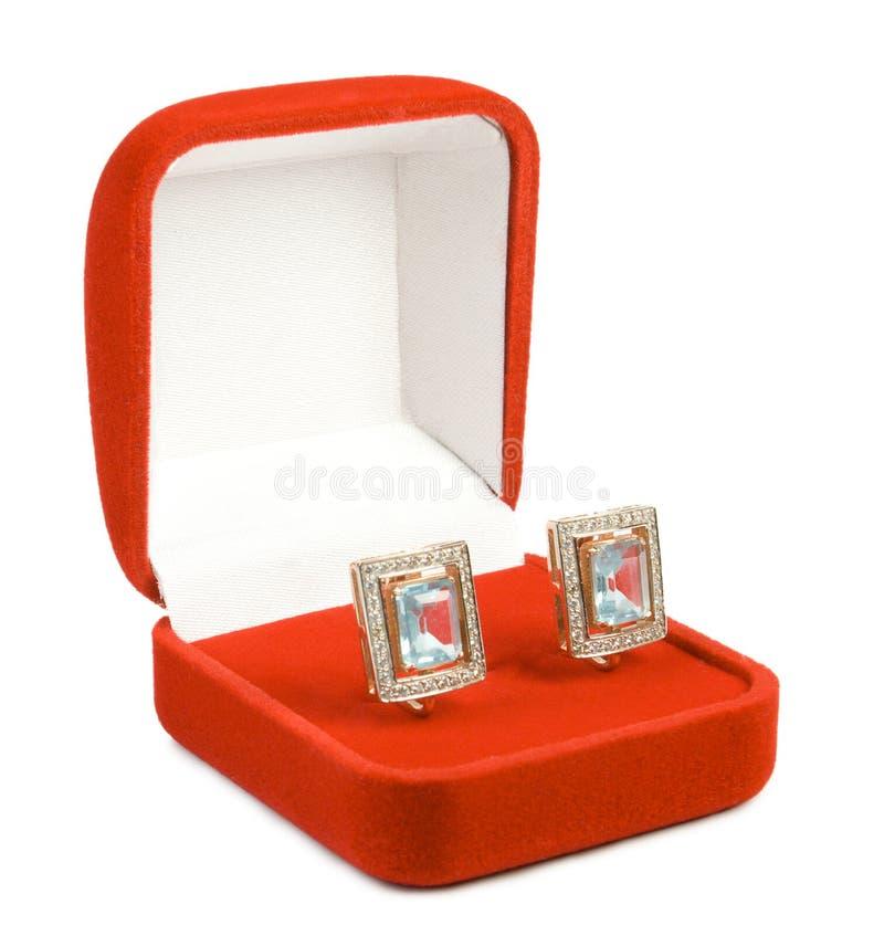 Orecchini in casella rossa. fotografia stock libera da diritti