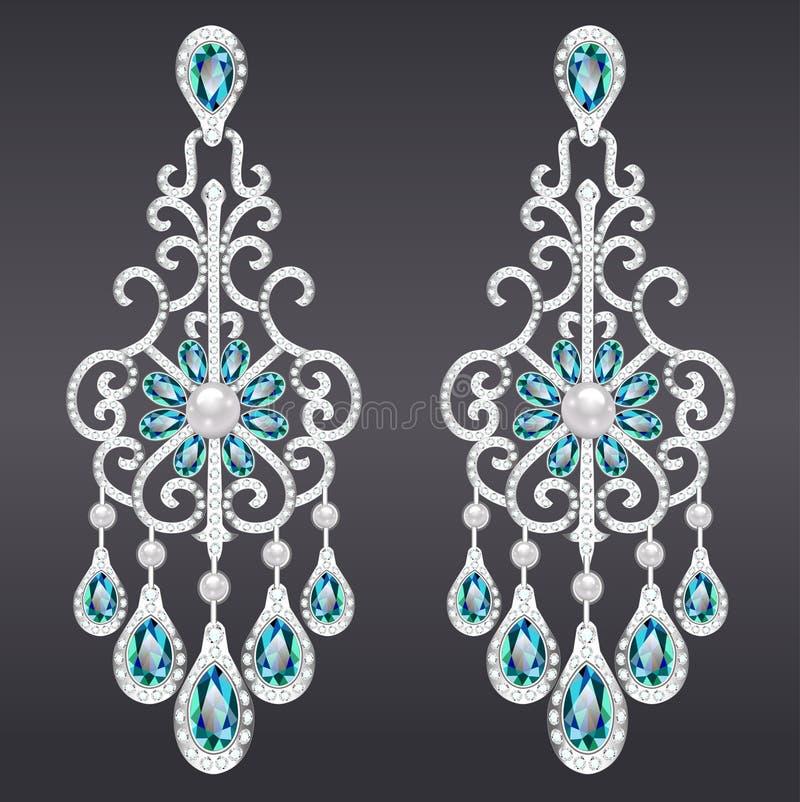 orecchini d'annata dei gioielli con la pietra preziosa verde illustrazione vettoriale