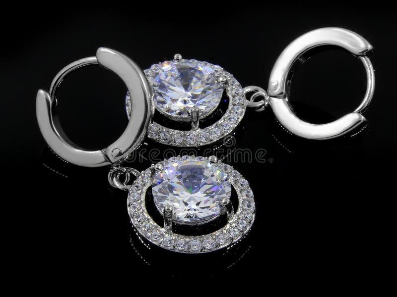 Orecchini dei gioielli per le donne - acciaio inossidabile e zirconi cubici fotografia stock libera da diritti