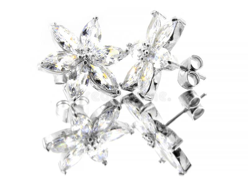 Orecchini dei gioielli per le donne - acciaio inossidabile e zirconi cubici fotografie stock libere da diritti