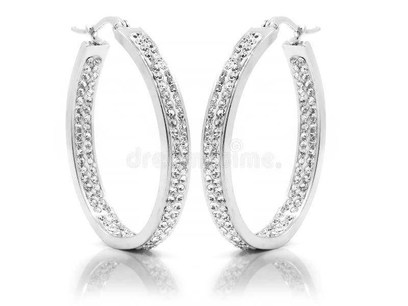 Orecchini dei gioielli per le donne - acciaio inossidabile e zirconi cubici immagini stock libere da diritti