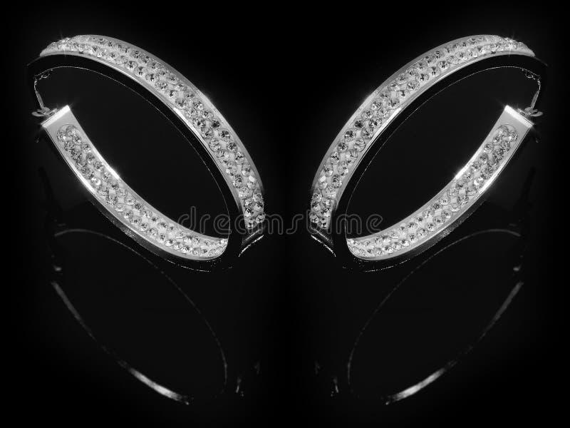 Orecchini dei gioielli per le donne - acciaio inossidabile e zirconi cubici fotografia stock