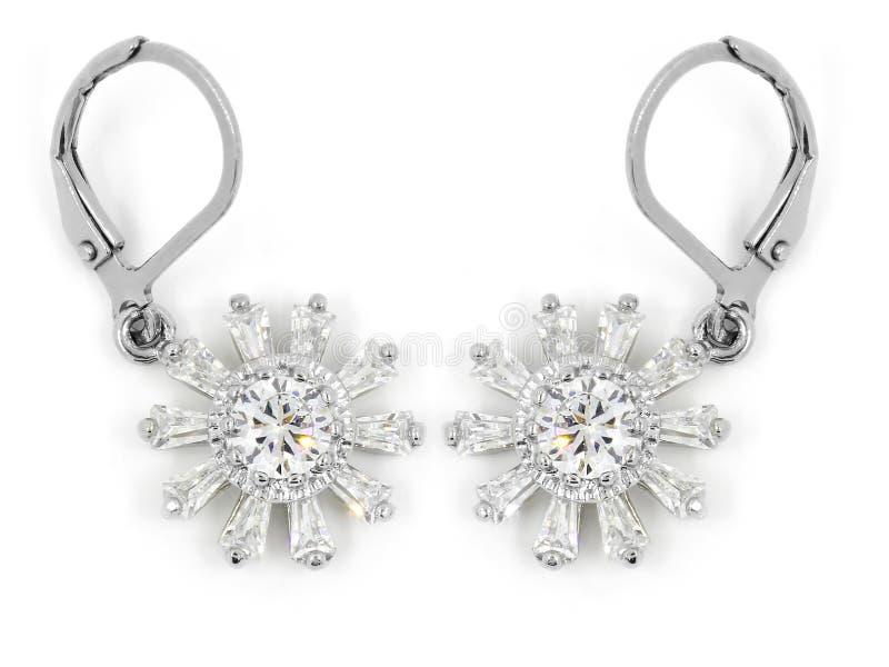 Orecchini dei gioielli - zircone - acciaio inossidabile e cristalli immagine stock libera da diritti