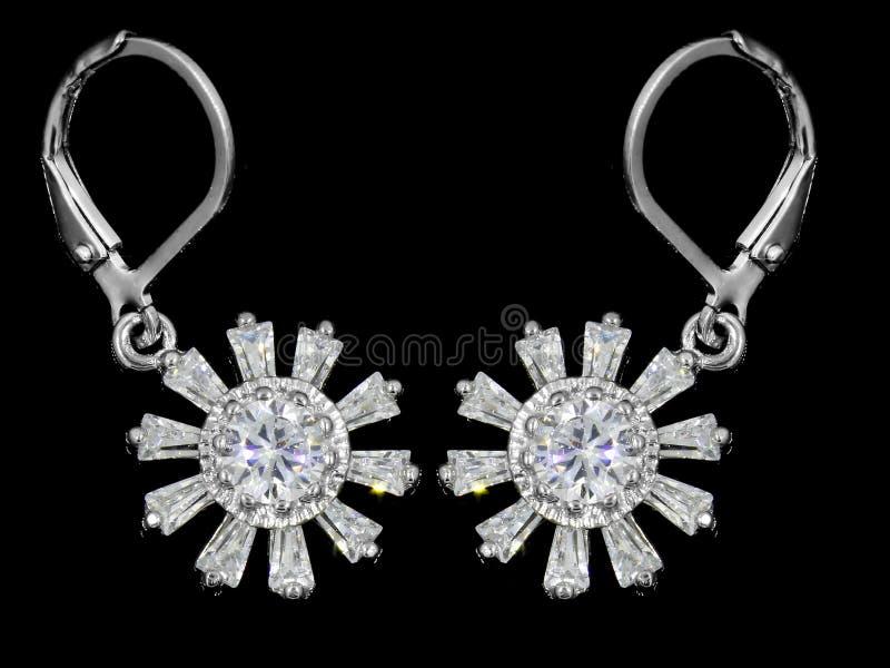 Orecchini dei gioielli - zircone - acciaio inossidabile e cristalli immagini stock