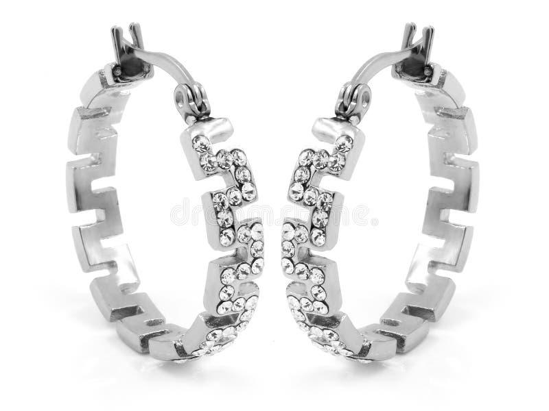 Orecchini dei gioielli - zircone - acciaio inossidabile e cristalli fotografia stock libera da diritti
