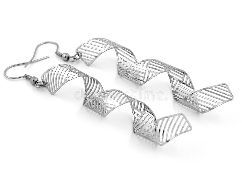 Orecchini dei gioielli - zircone - acciaio inossidabile e cristalli immagine stock