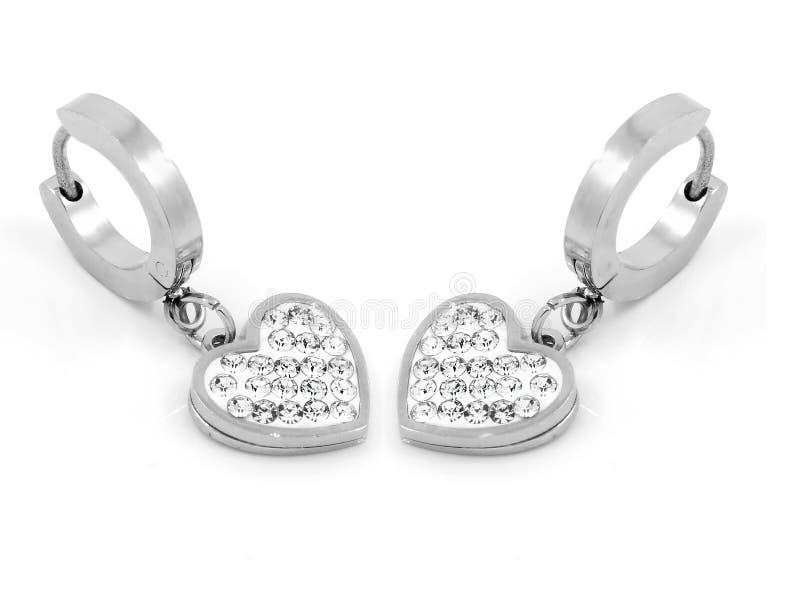 Orecchini dei gioielli - zircone - acciaio inossidabile e cristalli fotografia stock