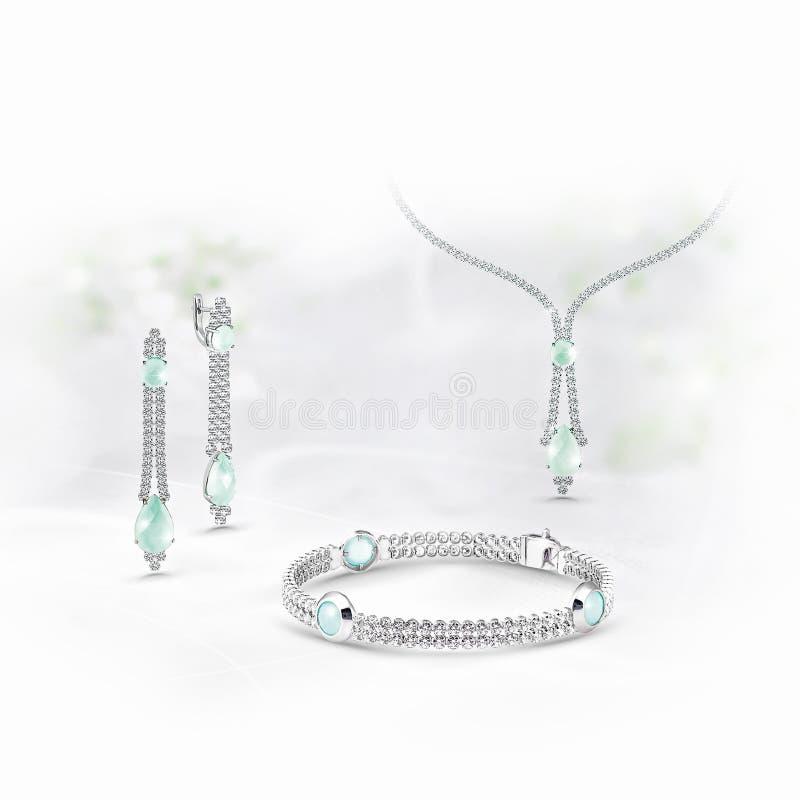 Orecchini del andr del pendente di oro con i diamanti, gli smeraldi ed il topazio su fondo bianco immagine stock libera da diritti