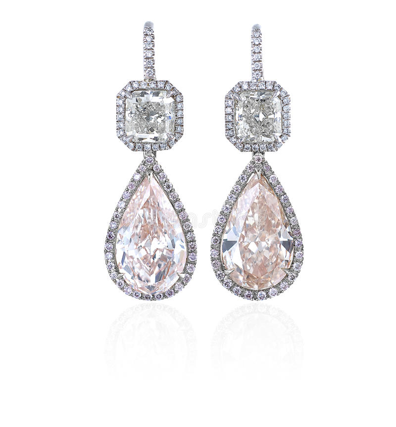 Orecchini del diamante. fotografia stock libera da diritti