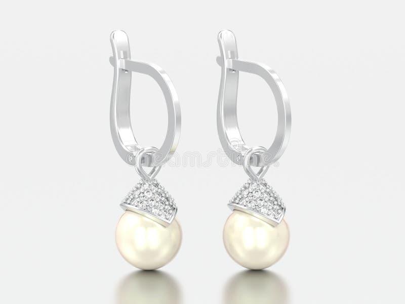 orecchini del diamante della perla dell'oro bianco o dell'argento dell'illustrazione 3D con immagine stock libera da diritti