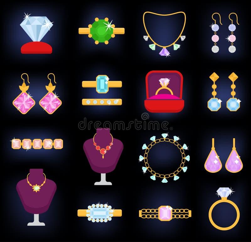 Orecchini della collana del braccialetto dell'oro dei gioielli di vettore dei gioielli ed anelli d'argento con gli accessori del  royalty illustrazione gratis