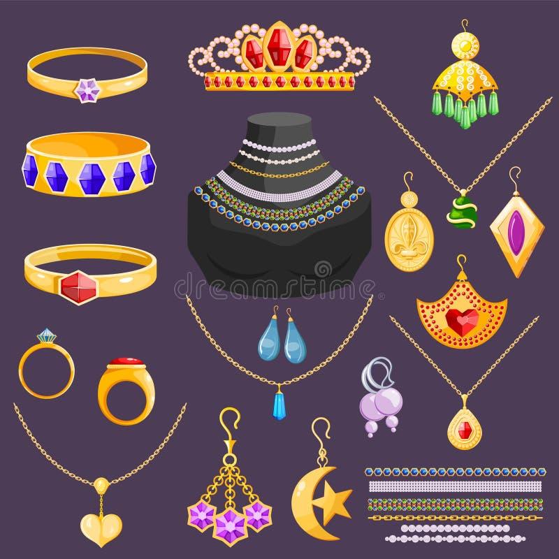Orecchini della collana del braccialetto dell'oro dei gioielli di vettore dei gioielli ed anelli d'argento con gli accessori del  illustrazione vettoriale