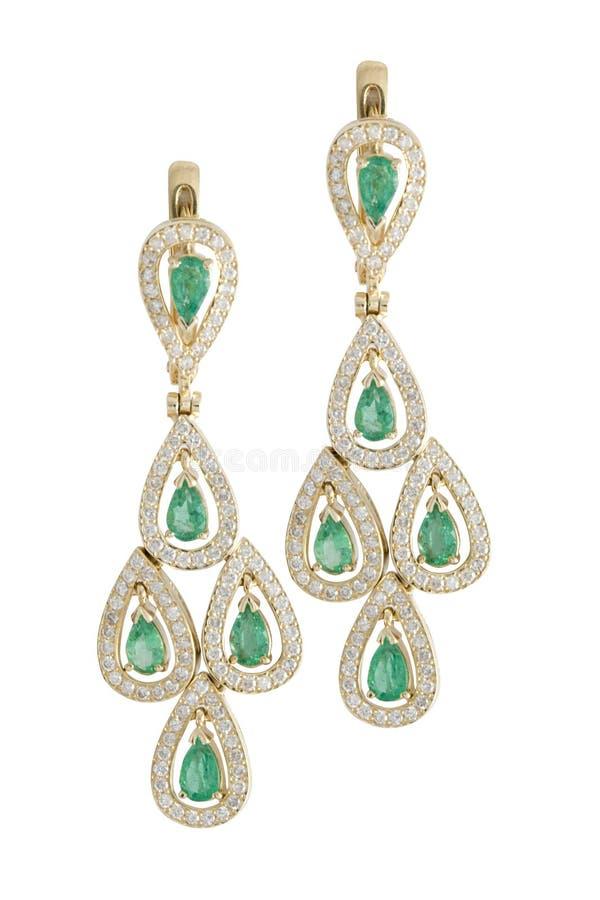 Orecchini verde smeraldo immagini stock