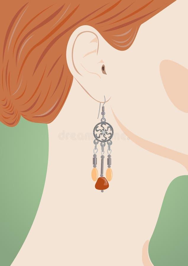 Orecchio femminile con il gioielliere illustrazione di stock