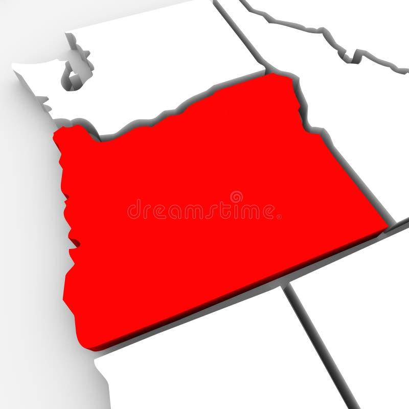 Oregon abstrakta 3D stanu Czerwona mapa Stany Zjednoczone Ameryka ilustracja wektor