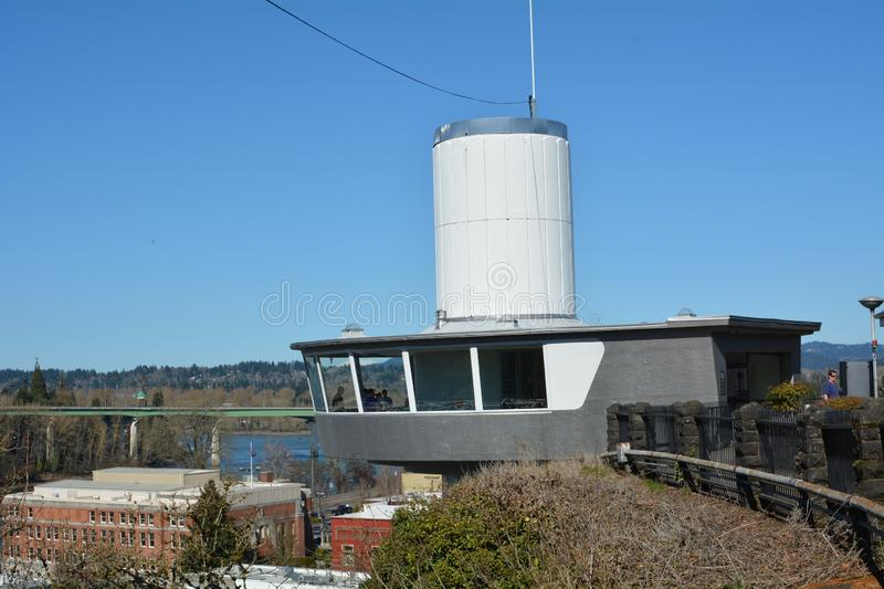 Top of Municipal Elevator in Oregon City, Oregon. The Oregon City Municipal Elevator is a 130-foot 40 m[2] elevator which connects two neighborhoods in Oregon royalty free stock photography