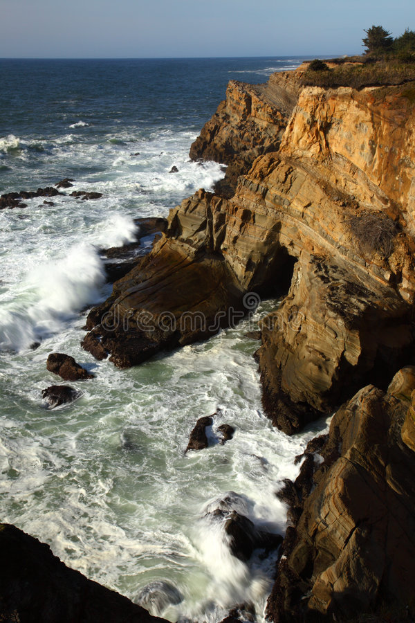 Oregon coast portraits. Cape Arago State Park and the sandstone cliffs royalty free stock image