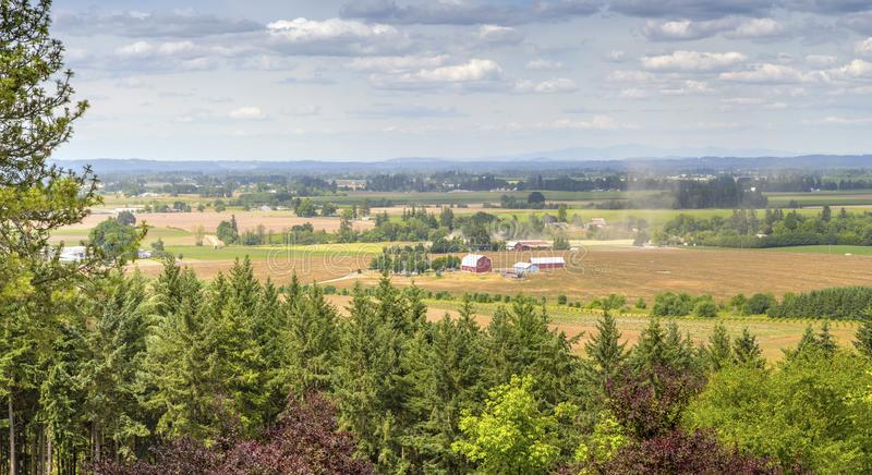Oregon countryside Willamette valley farming. Oregon countryside Willamette valley agricultural panorama royalty free stock images