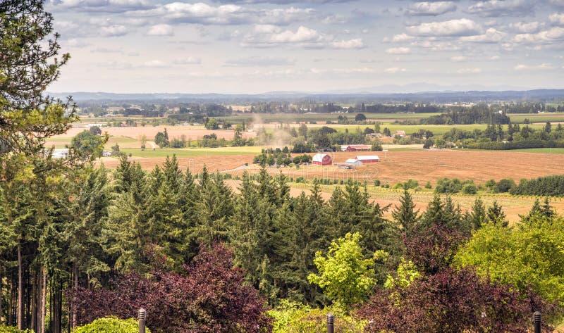 Oregon countryside Willamette valley farming. Oregon countryside Willamette valley agricultural panorama royalty free stock photo