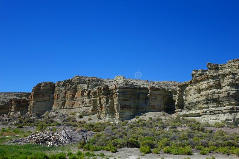 Oregon Desert Mesas. These stone mesas are landmarks in the Oregon desert near Jordan Valley stock photography