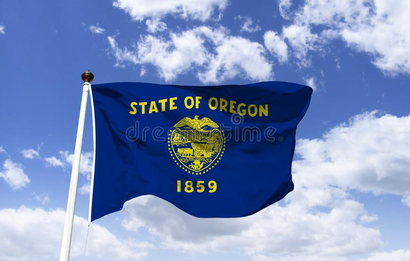 Oregon flag mockup in the wind stock photo