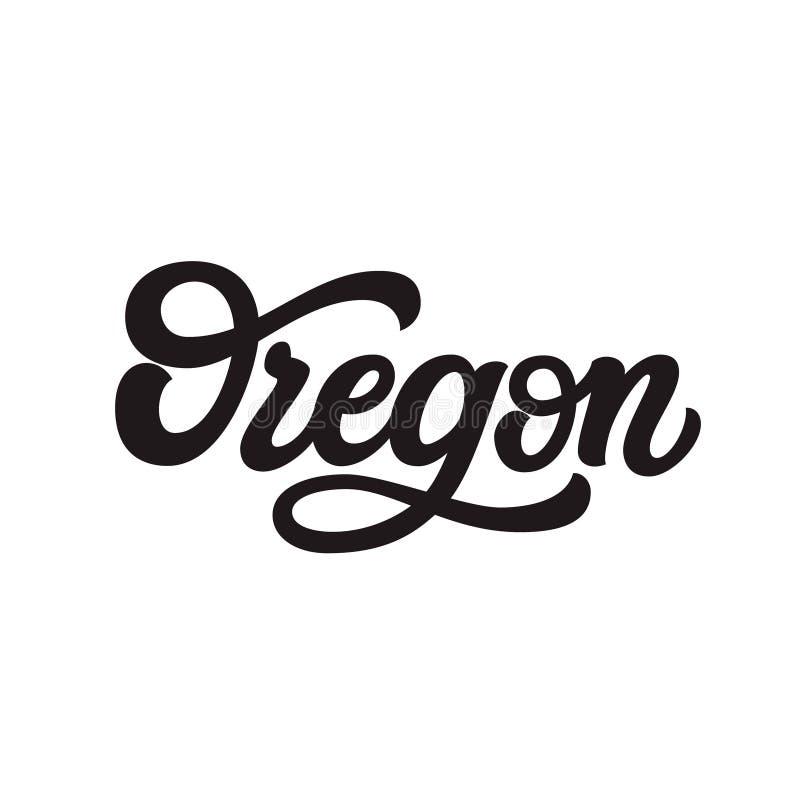 oregon Hand getrokken van letters voorziende tekst stock illustratie