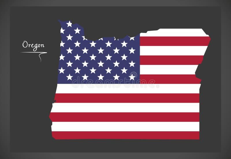 Oregon mapa z Amerykańską flaga państowowa ilustracją ilustracja wektor