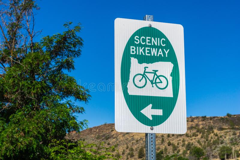 Oregon Scenic Bikeway signpost royalty free stock images