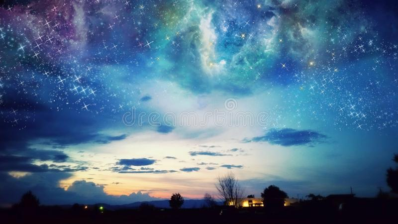 Oregon-Sonnenunterganggalaxie lizenzfreies stockbild