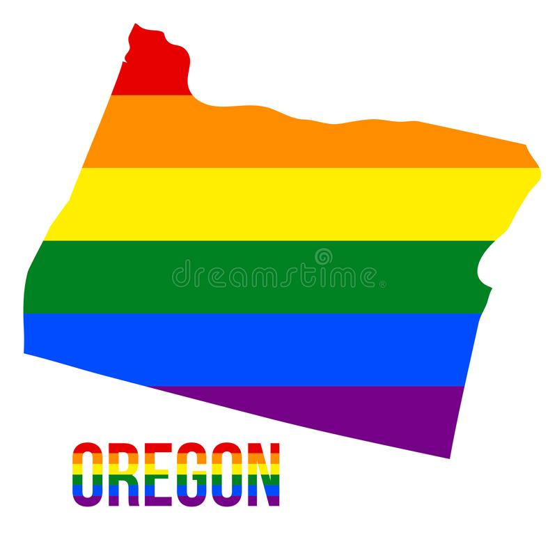 Oregon State Map in LGBT Rainbow Flag Comprised Six Stripes With Oregon LGBT Text. The Flag Comprised Six Stripes; Meaning to Each of The Colors: Life, Healing vector illustration