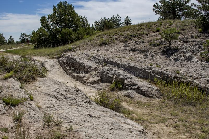Oregon Trail Ruts. Near Guernsey, Wyoming stock images