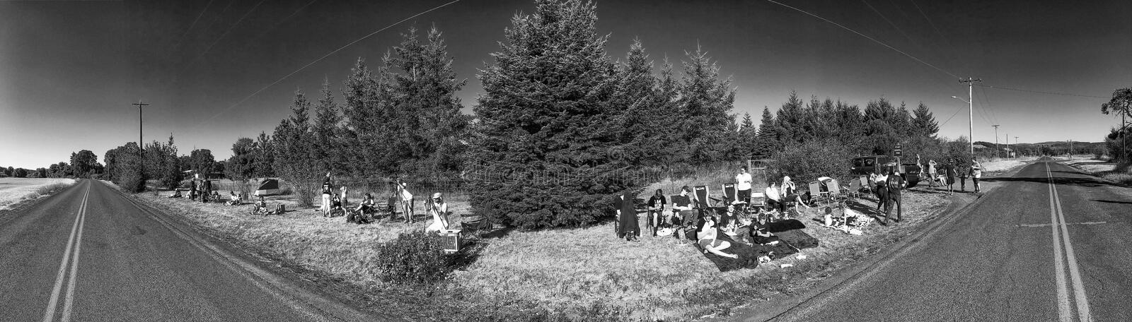 OREGON, USA - AUGUST 21, 2017: Tourists and locals wait for total solar eclipse. This eclipse crosses all the United States.  stock image