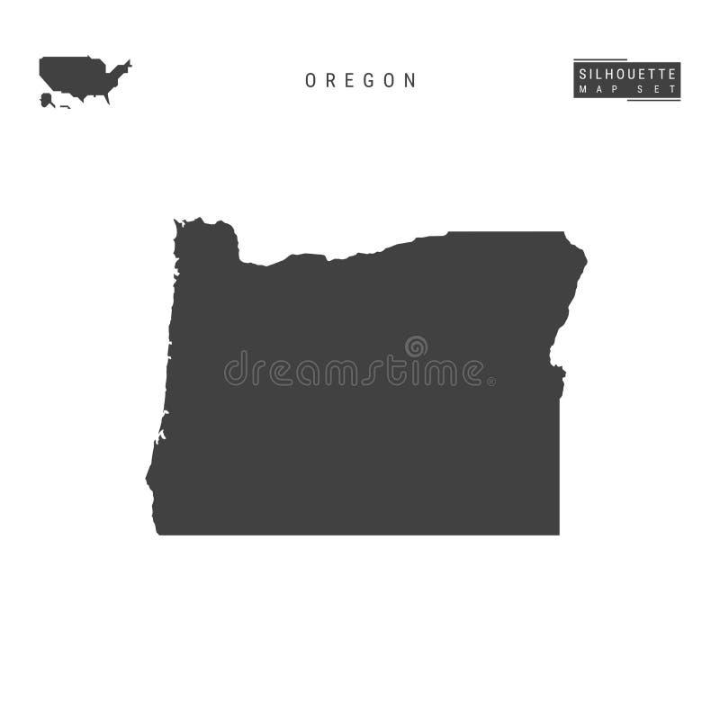 Oregon USA påstår vektoröversikten som isoleras på vit bakgrund Hög-specificerad svart konturöversikt av Oregon royaltyfri illustrationer