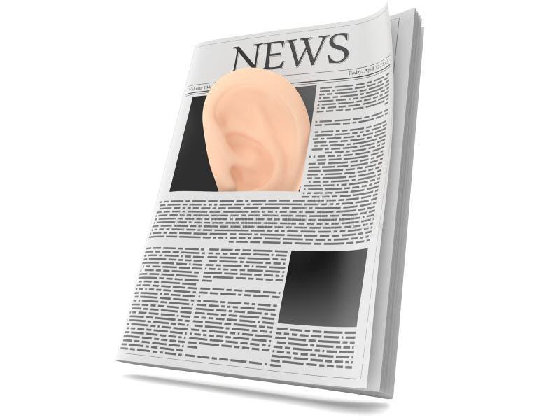 Oreille à l'intérieur de journal illustration libre de droits
