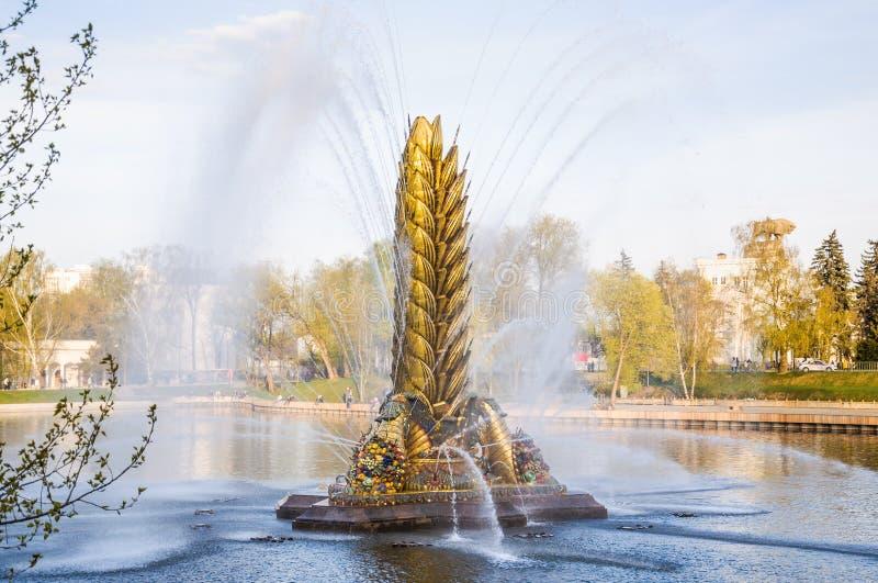 Oreille d'or de fontaine de ` de ` sovi?tique l?gendaire de Zolotoy Kolos, construite en 1954 ? VDNH, apr?s restauration Moscou,  photographie stock