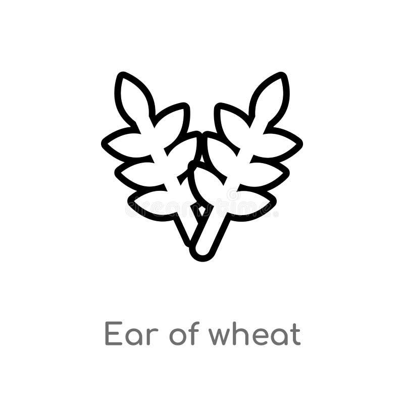 oreille d'ensemble d'ic?ne de vecteur de bl? ligne simple noire d'isolement illustration d'?l?ment de concept de nourriture oreil illustration de vecteur