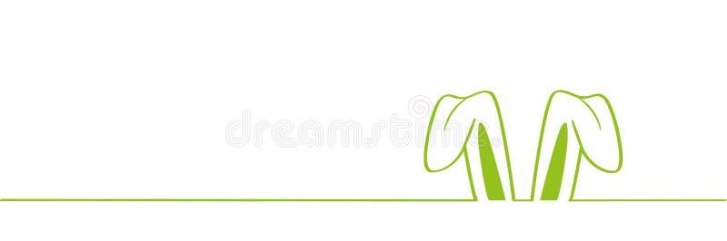 Oreille de lapin verte d'oreilles de lapin de Pâques d'isolement sur le fond blanc illustration libre de droits