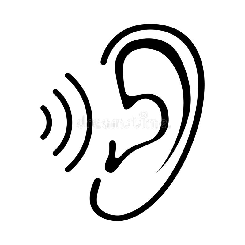 Oreille et icône d'audition illustration libre de droits