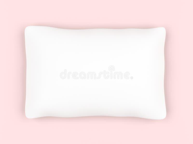 Oreiller blanc de rectangle d'isolement sur le fond rose illustration libre de droits