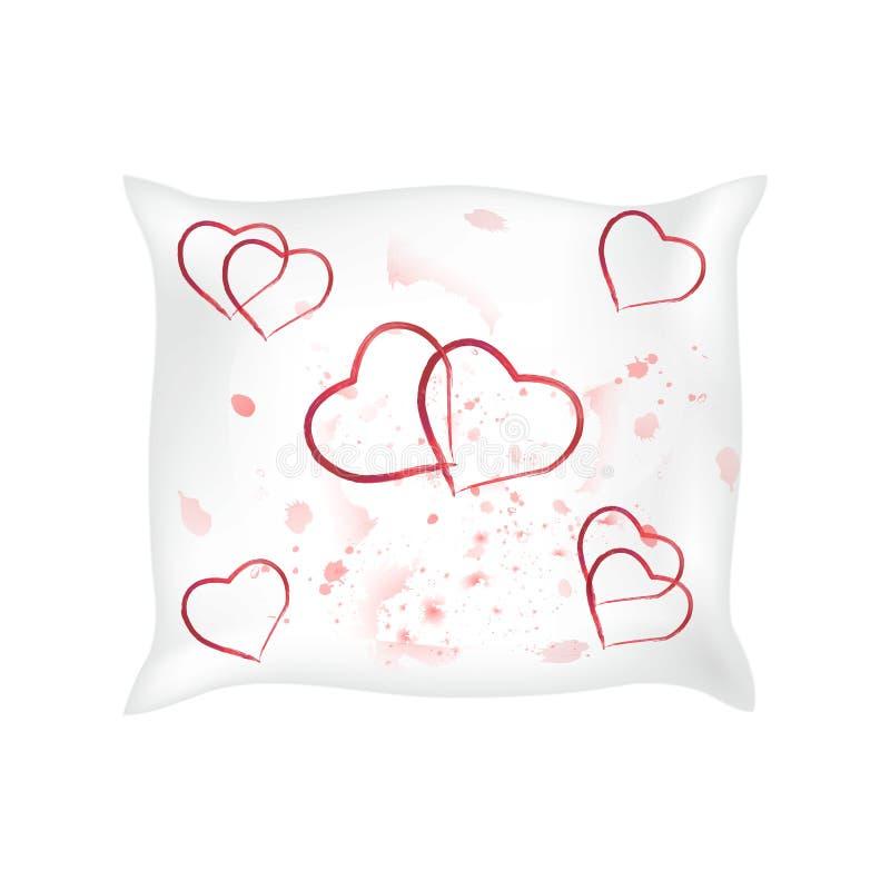 Oreiller décoratif avec la taie d'oreiller de coeurs dans un style élégant et doux sur un fond blanc élément de conception intéri illustration stock