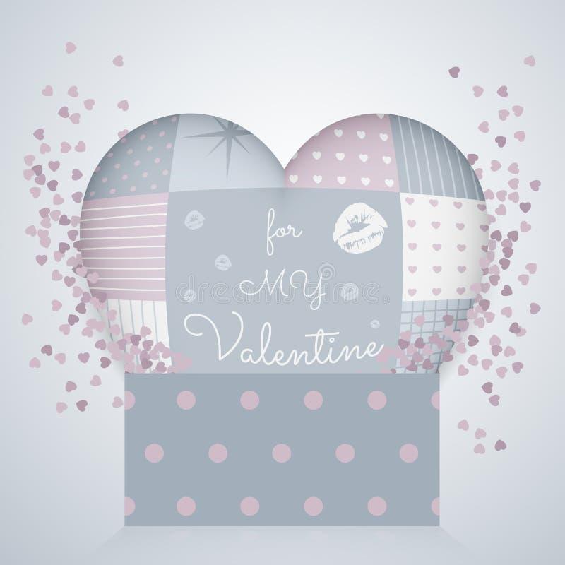 oreiller 3D dans la forme d'un coeur avec le patchwork, boîte-cadeau du modèle 3d Le jour de Valentine illustration libre de droits