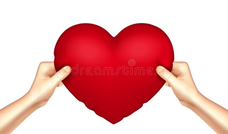 Oreiller de coeur dans des mains réalistes illustration libre de droits