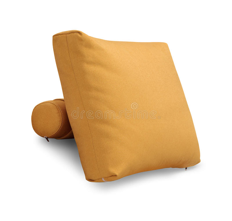 Oreiller de sofa de tapisserie d'ameublement d'isolement sur le fond blanc avec le chemin de coupure photo libre de droits