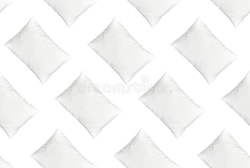 Oreiller piqué blanc mol de modèle sans couture d'isolement sur la vue supérieure de fond blanc Oreiller propre, article intérieu illustration de vecteur