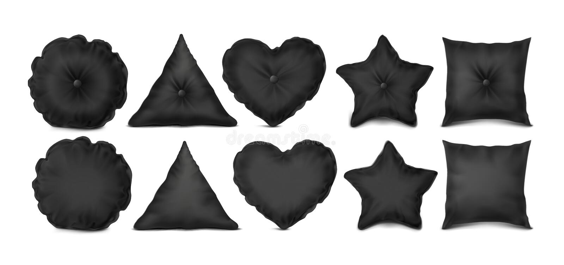 Oreiller réglé de noir décoratif illustration de vecteur