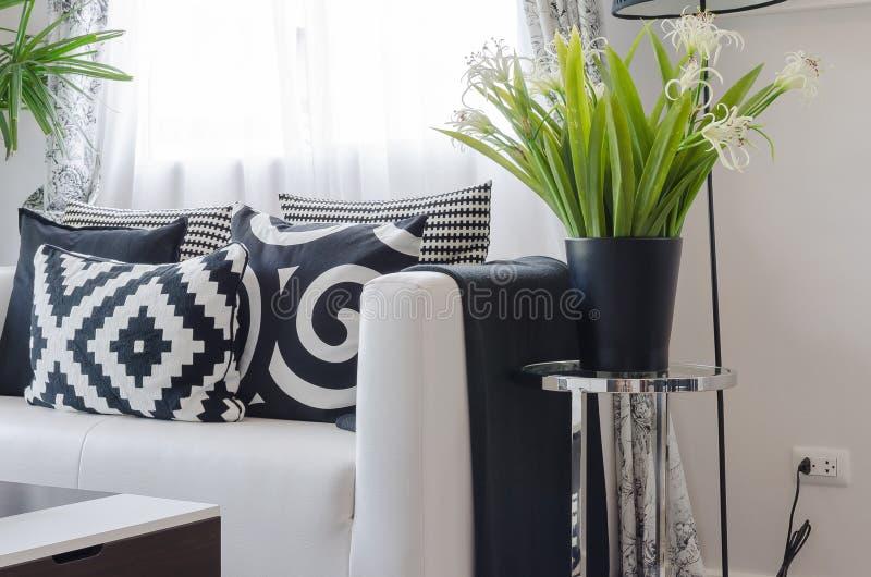 Oreillers noirs et blancs sur le sofa blanc avec le vase de l'usine images stock